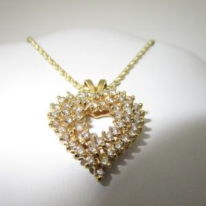 Jewelry - 14K GOLD 2.6 ctw DIAMOND HEART NECKLACE | 22""